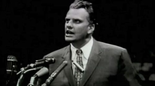 Billy Graham delivering at sermon at the MCG in 1959.