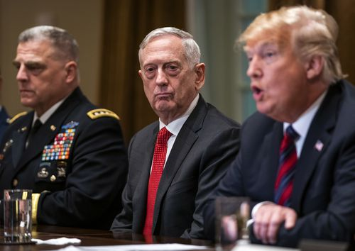 US Defence Secretary Jim Mattis, pictured with President Donald Trump, is leaving the post in February.