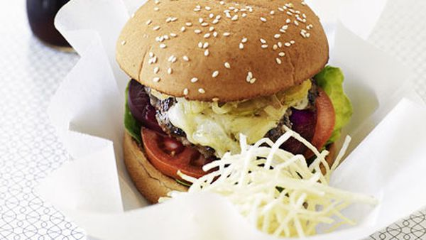 Classic beef burgers with shoestring fries