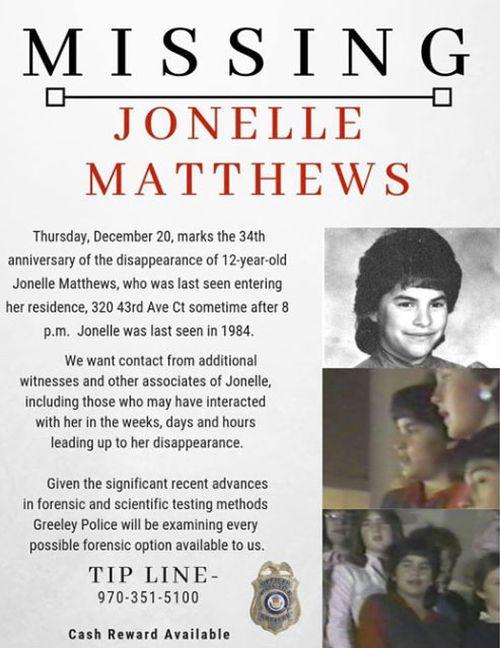 Missing persons post for US schoolgirl Jonelle Matthews who vanished in 1984.