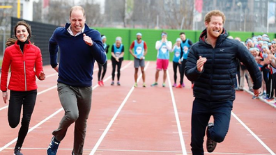 Kate, William and Harry join the Team Heads Together at a London Marathon Training Day at the Queen Elizabeth Olympic Park on February 5, 2017.