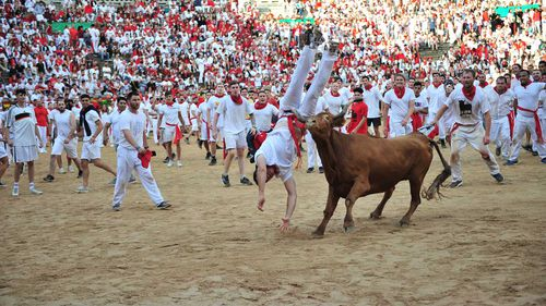 Bulls Stampede Through Pamplona on Second Day of Festival