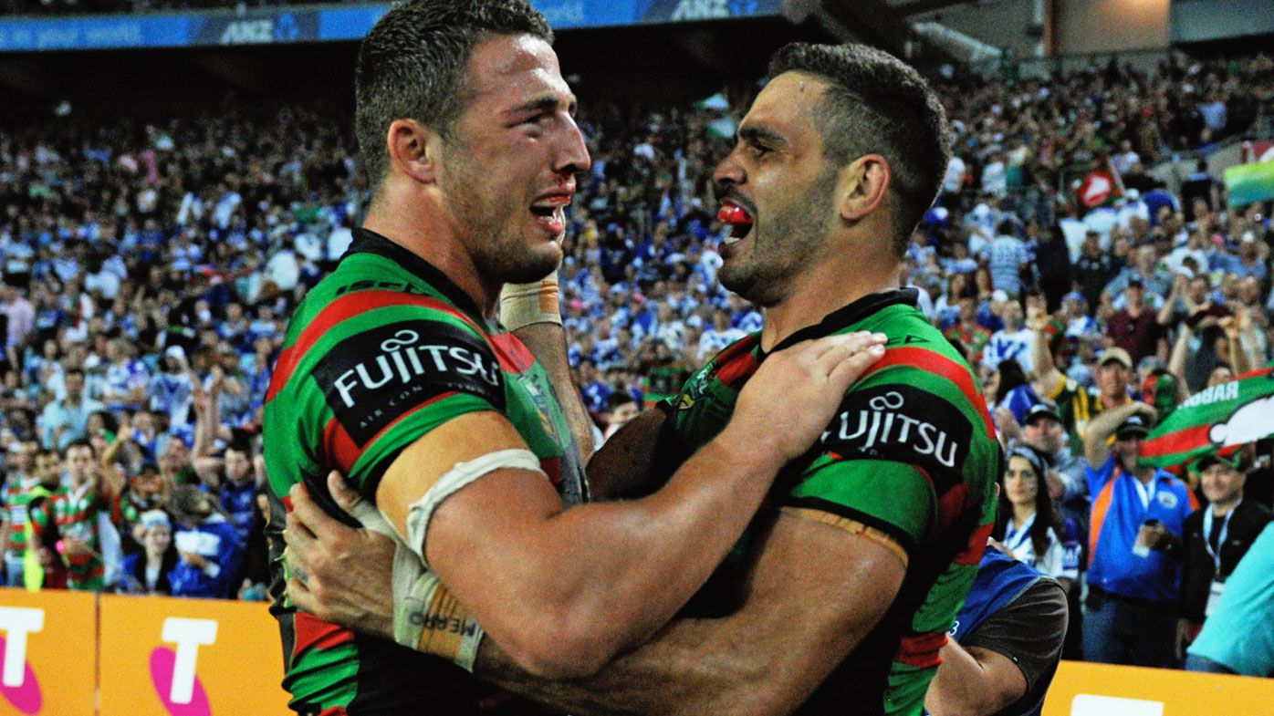 Sam Burgess (L) and Greg Inglis after Souths' drought-breaking Premiership. (Getty-file)