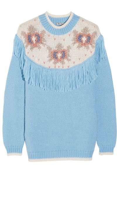 "<a href=""http://www.net-a-porter.com/product/466918/Miu_Miu/fringed-intarsia-knitted-sweater"" target=""_blank"">Fringed Intarsia Knitted Sweater, $2209.80, Miu Miu</a>"