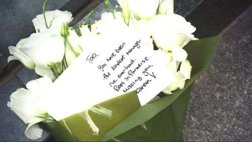 A touching message left in tribute to slain cafe manager Tori Johnson.