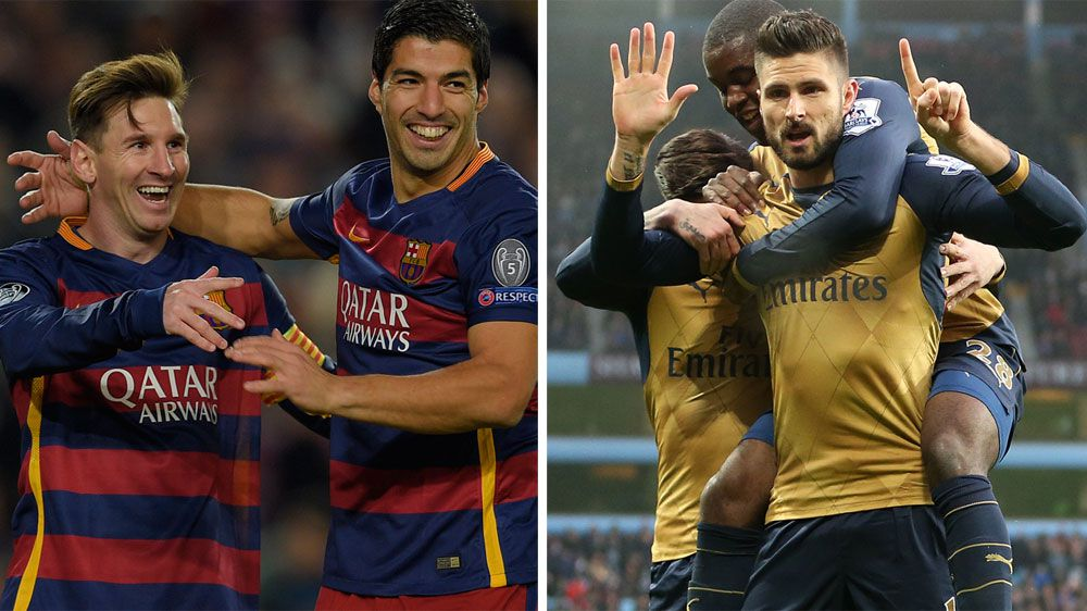 Barceloan stars Lionel Messi and Luis Suarez (L) and Arsenal's key striker Olivier Giroud. (AFP)
