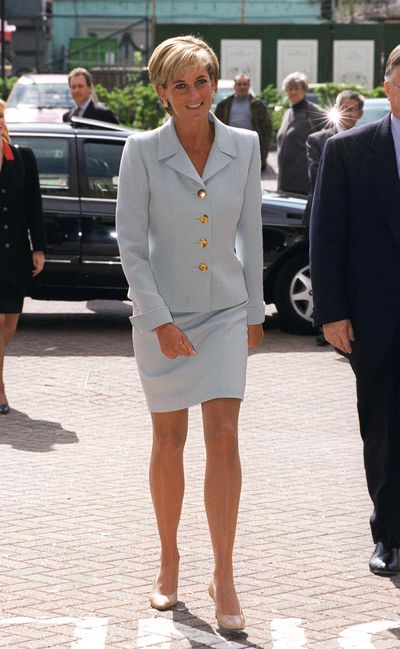 Diana, Princess of Wales in a suit by Versace at Brompton Hospital, April 1997