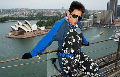Ben Stiller as Derek Zoolander on top of the Sydney Harbour Bridge for BridgeClimb Sydney