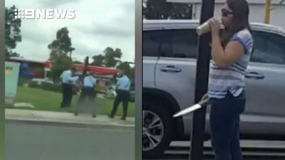 Moment police fatally shot knife-armed woman