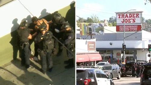 A teenager has been taken into police custody after he barricaded himself in a Trader Joe's supermarket. Picture: Supplied
