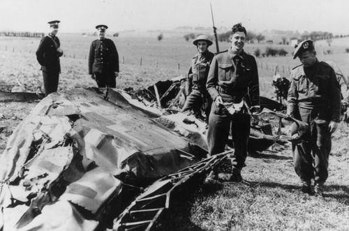 British troops at the site where Hess' plane crashed in Scotland on an ill fated peace mission.