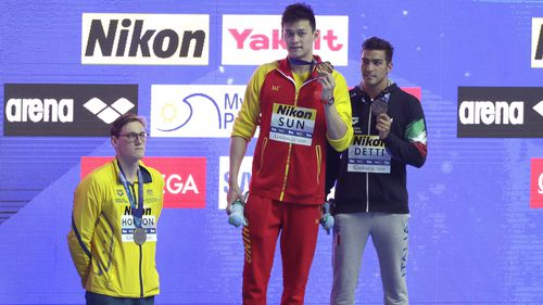 Mack Horton refused to stand on the podium with Sun Yang after the men's 400m freestyle final at the World Swimming Championship.