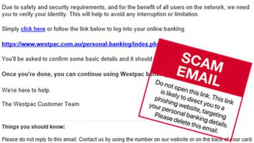 A example of scam email sent to Westpac customers.