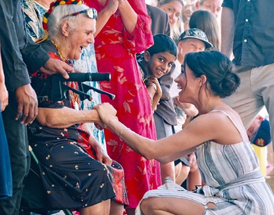 Meghan greeting fans during the royal tour of the Pacific.