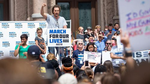 Matthew McConaughey speaks during a rally in Austin, Texas. (AP)