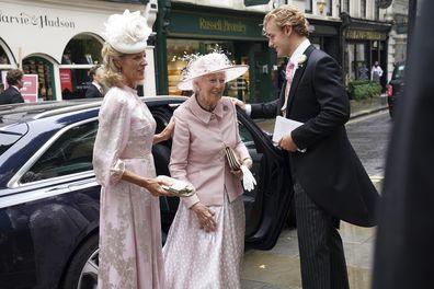 Princess Alexandra arrives to the wedding of granddaughter, Flora Ogilvy.