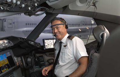 Head monitor for Qantas pilot
