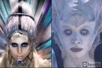 Lady Gaga totally looks like an alien in her 'Born This Way' video clip. <p><b>Image</b>: totallylookslike.com
