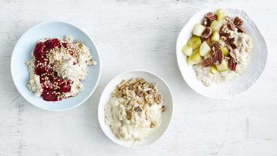 "<a href=""http://kitchen.nine.com.au/2017/01/31/13/24/porridge-three-ways"" target=""_top"">Porridge three ways</a><br> <br> <a href=""http://kitchen.nine.com.au/2017/01/31/14/57/sarah-wilsons-four-tips-to-start-the-day-well"" target=""_top"">RELATED: Sarah Wilson's four ways to set up a sugar free day</a>"