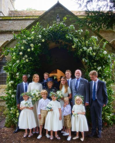 India Hicks, Prince Charles' goddaughter on her wedding day, with family and husband David Flint Wood