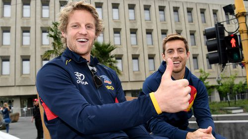 A relaxed Rory Sloane and Richard Douglas. (AAP)
