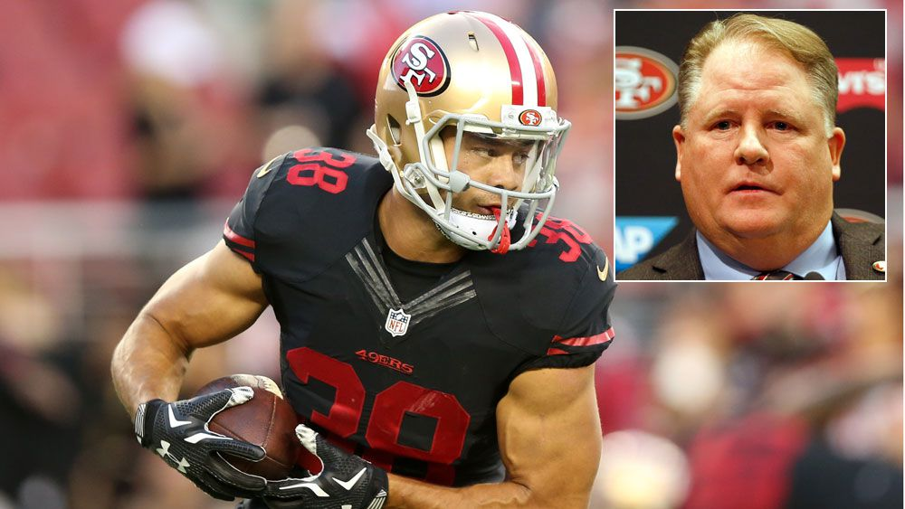 Jarryd Hayne and (inset) 49ers coach Chip Kelly. (Getty)