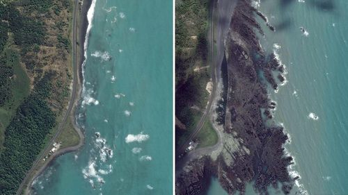 Before and after shots showing the coastline north of Kaikoura.