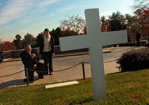 Juan Romero and his daughter Elda Romero visit the grave site of Robert F. Kennedy for the first time in since the 1968 assassination