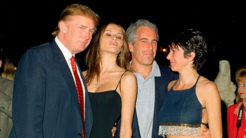 Donald Trump with billionaire sex offender Jeffrey Epstein in 2000, with their respective partners Melania Knauss (now Trump) and Ghislaine Maxwell at the president's Mar-a-Lago club in Florida.