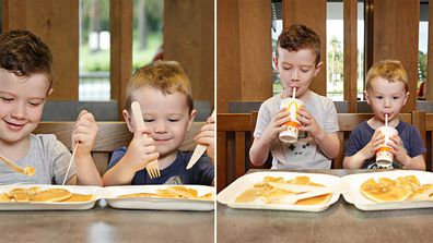 Children using new fibre based McDonald's straws and cutlery