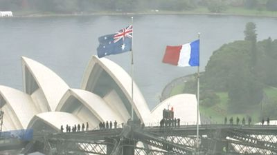 <p>Australia is flying the French flag above the Sydney Harbour Bridge as a show of support for the victims of the attacks in Paris. (9NEWS)</p><p><strong>Click through the gallery to see images of support from Australia and around the world</strong>.</p>