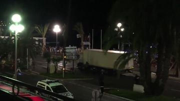 9RAW: Moment French police try to stop truck from entering Bastille Day celebrations