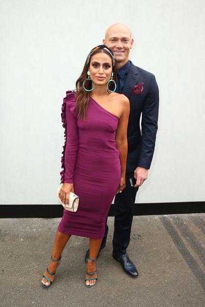 Desiree Deravi and Michael Klim. Deravi wears a headpiece from Gucci