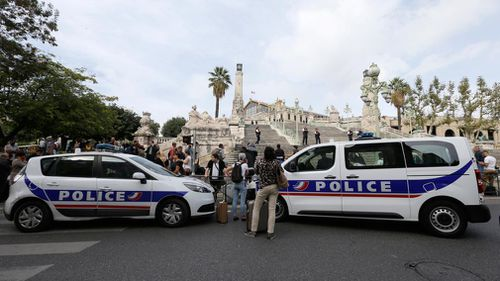 Police cars parked outside the Marseille railway station. (AP)