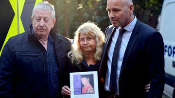 Detective Chief Inspector Jubelin with Mathew Leveson's parents.