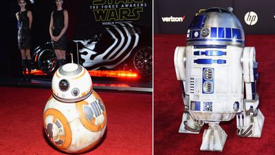 R2-D2 and BB-8 weren't about to miss out on the premiere. (Getty)