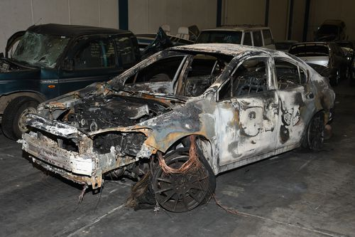 The burnt out Subaru could hold a key to Ngata's shooting. (AAP)