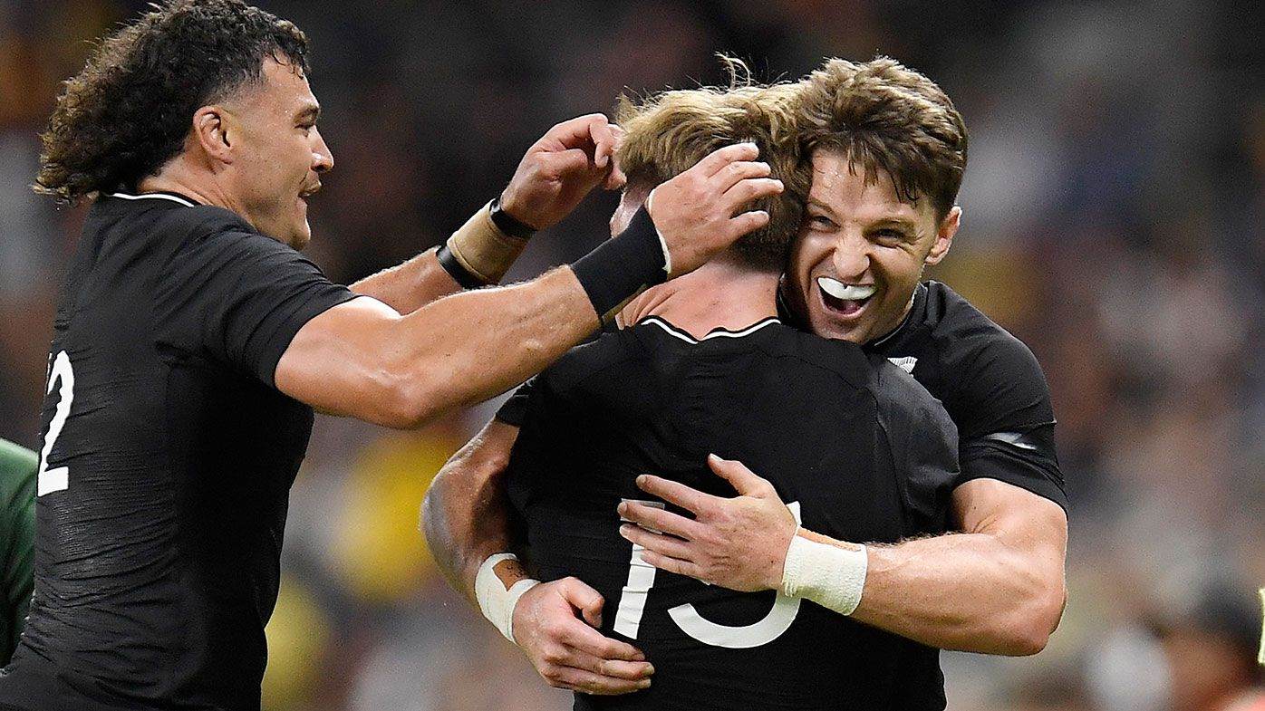 The All Blacks celebrate after winning the Rugby Championship match between the New Zealand All Blacks and the South African Springboks at QCB Stadium on September 25, 2021 in Townsville, Australia. (Photo by Ian Hitchcock/Getty Images)
