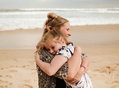 Hayley Reeves and Jade hugging