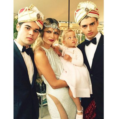 <p>Robert Cavalli, Natasha Poly, her daughter Aleksandra Christina, and Daniël van der Deen.</p>