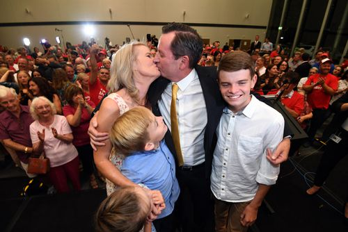 Premier-elect Mark McGowan with his family in Rockingham. (AAP)
