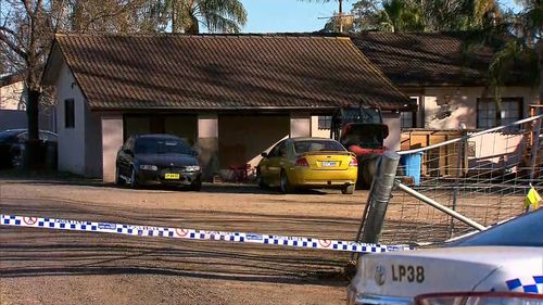 Police set up a crime scene at the home yesterday after the incident. Picture: 9NEWS
