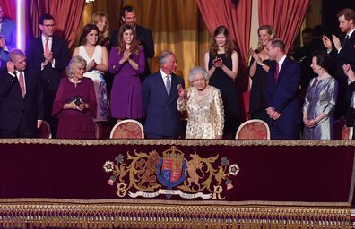 Camilla, Duchess of Cornwall, Princess Eguenie, Princess Beatrice, Prince Charles, Prince of Wales,Lady Louise Windsor, Sophie, Countess of Wessex, Prince William, Duke of Cambridge, Princess Anne, Princess Royal, Vice Admiral Sir Timothy Laurence, Prince Harry, Meghan Markle and Prince Edward welcome Queen Elizabeth II