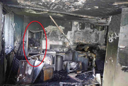 Pictures released to the inquiry show the gutted kitchen of flat 16. (Supplied)