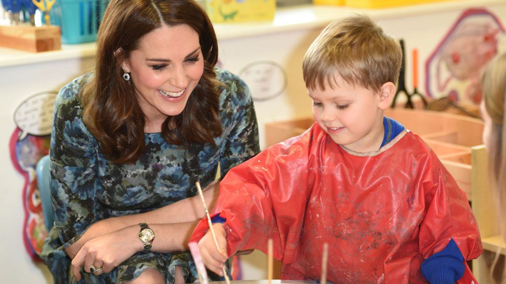 Pregnant Kate Middleton GASPS in shock when chatting to laughing kids on Royal visit
