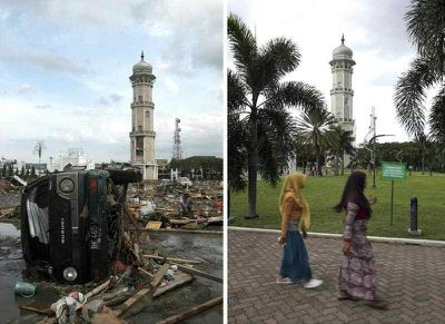 The wreckage of a car standing before the Baitulrahman Mosque on 26 December 2004 (L), and a view of the same area on 16 December 2014 (R), in Banda Aceh, Indonesia. (EPA)
