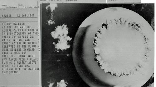 "This iconic Navy image, entitled ""No Toy Balloon"", depicts the exact moment of the Baker explosion (National Security Archive)"