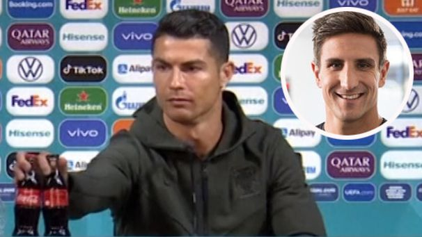 Cristiano Ronaldo removes two Coca-Cola bottles from a press conference and (inset) Matthew Pavlich.