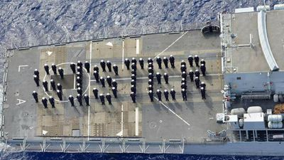 "The crew on HMS Lancaster, known as ""The Queen's Frigate"" send a message of congratulations to the royals. (9NEWS)"