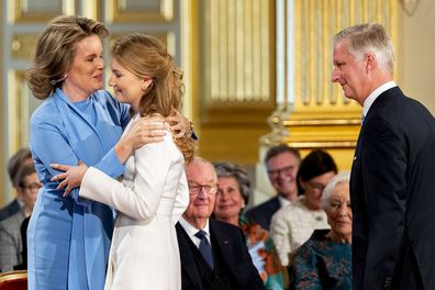King Philippe of Belgium, Queen Mathilde and Princess Elisabeth during the 18th birthday celebration.